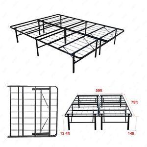 Modern Bi Fold Queen Size Metal Bed Folding Platform Frame