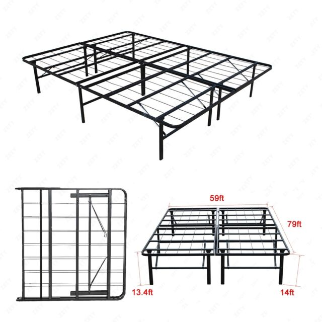 Modern Queen Size Bi-fold Folding Platform Metal Bed Frame Mattress ...