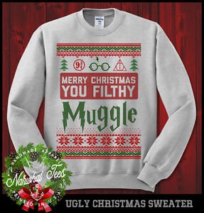 image is loading merry christmas you filthy muggle sweatshirt ugly sweater - Harry Potter Ugly Christmas Sweater