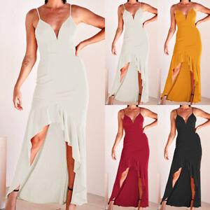 a7f61681217 Image is loading Womens-Sleeveless-Ruffle-Asymmetric-Holiday-Ladies-Summer- Long-