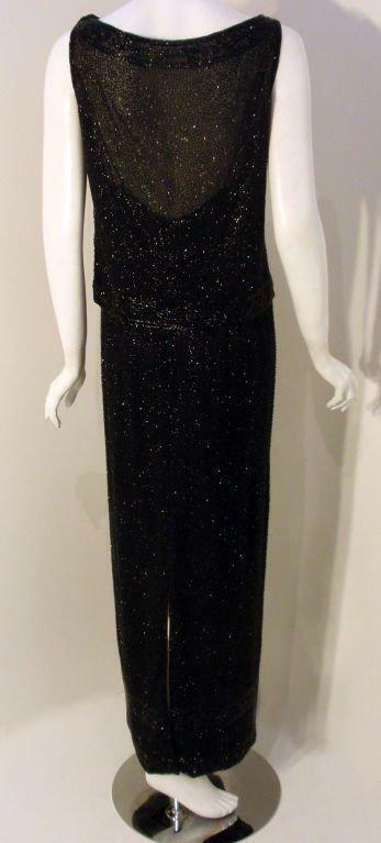 CEIL CHAPMAN 1960s Vintage 2 pc Black Beaded Gown - image 2