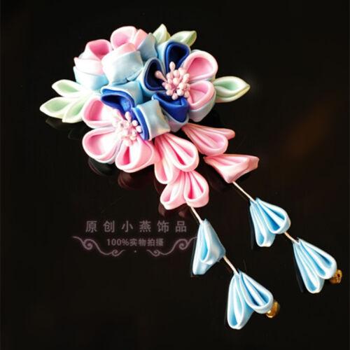 Pink Blue Sakura Hairpin Hair Clip Tsumami zaiku Japanese for Kimono Hanfu Sa