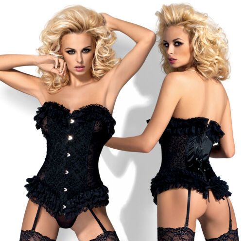 Attached Garter Straps and Matching Thong Set OBSESSIVE Baletti Boned Corset