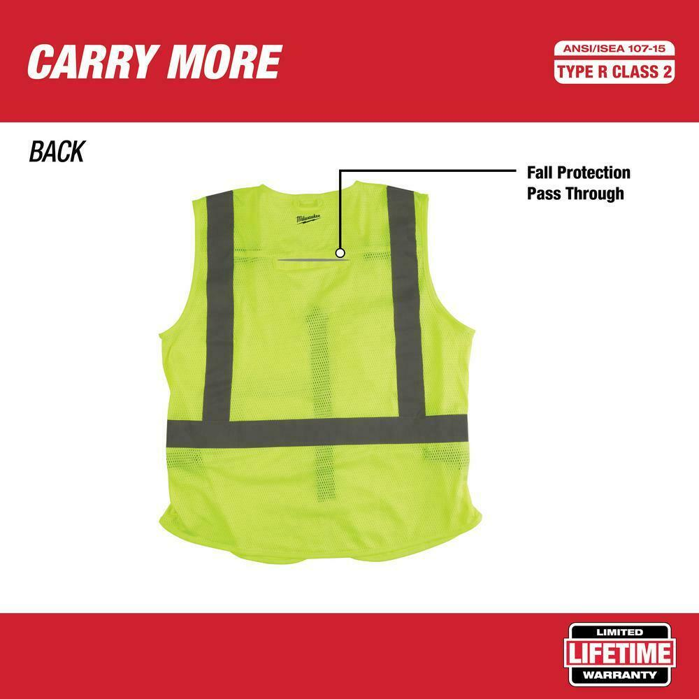 Large//X-Large CSA New Milwaukee 48-73-5062 High Vis Yellow Safety Vest