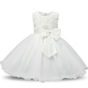 600f85c5387e9 Details about Baby Girl Christening Dress 1 Year Birthday Party Tutu Gown  Baptism Clothes