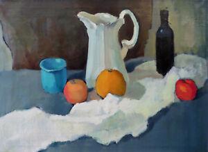 Academic-Still-Life-Apple-Orange-Vintage-Cezanne-Realistic-Fine-Art-Oil-Painting