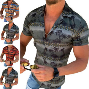 Men-039-s-Short-Sleeve-Printed-Casual-Tops-Tee-Slim-Fit-Shirts-Muscle-Holiday-Blouse