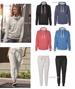 J America Women/'s Melange Fleece Cowlneck Pullover-8673 or Jogger Pants 8675