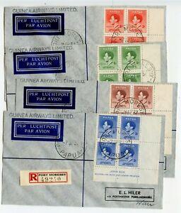 PAPUA-1937-Guinea-Airways-Coronation-Ash-imprint-Set-of-four-blocks-4-reg-covers
