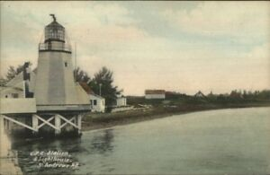 St-Andrews-NB-New-Brunswick-CPR-Station-amp-Lighthouse-c1910-Postcard