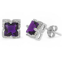 Halo Princess Cut Amethyst .925 Sterling Silver Stud Earrings on sale