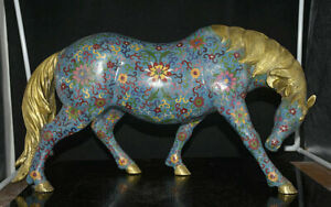 22-8-034-Chinois-Cloisonne-Email-Cuivre-Feng-Shui-Zodiaque-Animal-Cheval-Statue