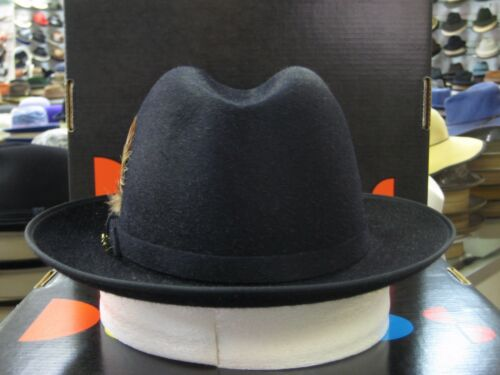 FUR FELT FEDORA DRESS HAT DOBBS BEECHWOOD NAVY LONG HAIR SILK FINISH