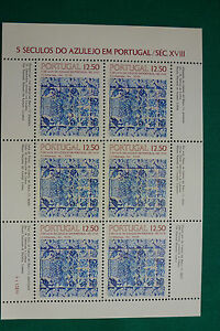 LOT-757-TIMBRES-STAMP-BLOC-FEUILLET-AZULEJOS-PORTUGAL-ANNEE-1983