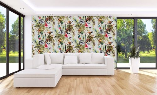 Silver Multicoloured Lemur Wallpaper Monkeys Flowers Floral Trees Animals Holden