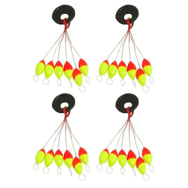 2X(4 Pcs Yellow Red Plastic 6 in 1 Fishing Bobber Stopper Sz 3 J1H4)