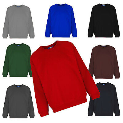 New Kids Unisex Crew Neck Sweatshirt Tops Plain School Uniform Fleece Jumper PE