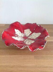 Vintage-Pottery-Dish-Ceramic-Art-Red-Cream-Hand-Made-Italian-Style