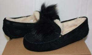 422d5d75590 Details about UGG Dakota Pom Pom Black Suede Moccasin Shoes New With Box!