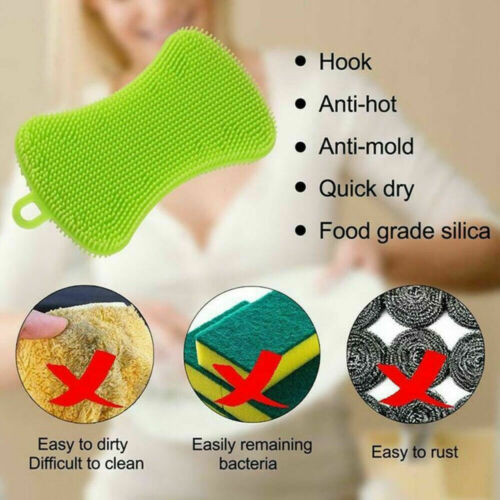 Premium Silicone Dish Washing Brush Sponge Scrubber Pot Pan Kitchen Cleaning UK