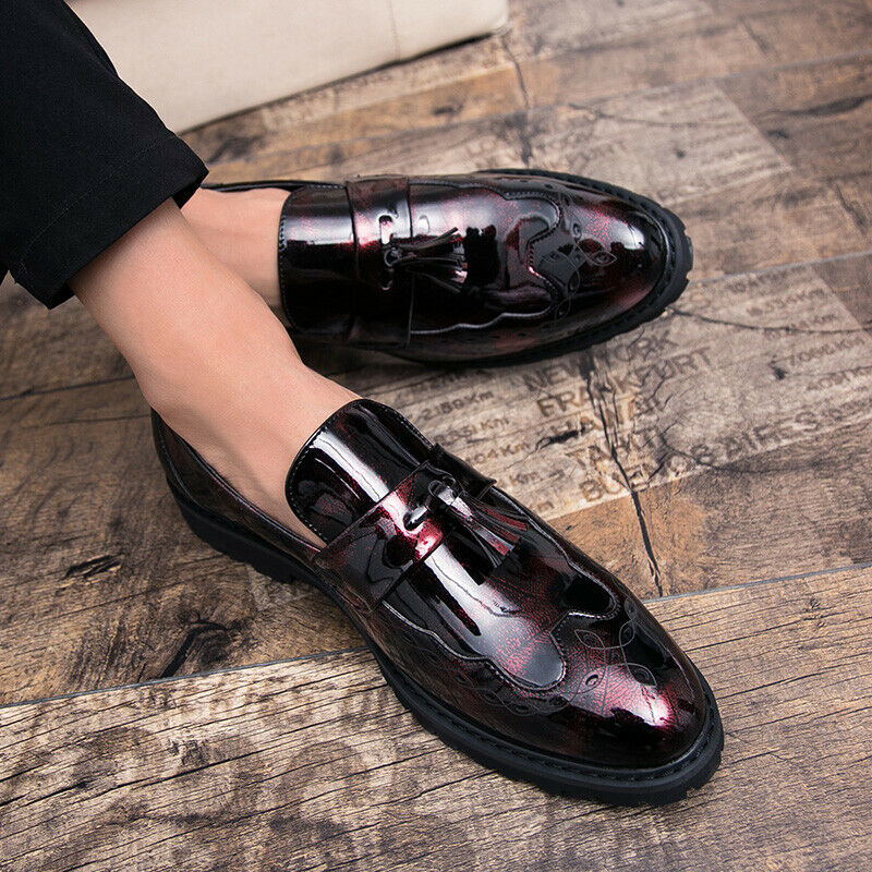 Leather Formal shoes Mens Retro Brogue Tassel Dress Business Pull On Leisure Hot
