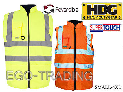 GroßZüGig High Vis Safety Reversible Warm Padded Body Warmers, Work Waistcoats Rrp £25!!!
