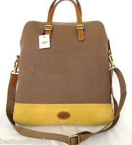 NEW-FOSSIL-TAYLOR-FAB-TAUPE-YELLOW-BROWN-TRIM-CANVAS-CROSSBODY-TOTE-HAND-BAG