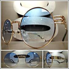 CLASSIC VINTAGE RETRO Style SUN GLASSES Unique Round Gold Frame Light Blue Lens