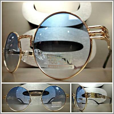 OVERSIZE EXAGGERATED VINTAGE RETRO Style SUN GLASSES Round Gold Frame Blue Lens
