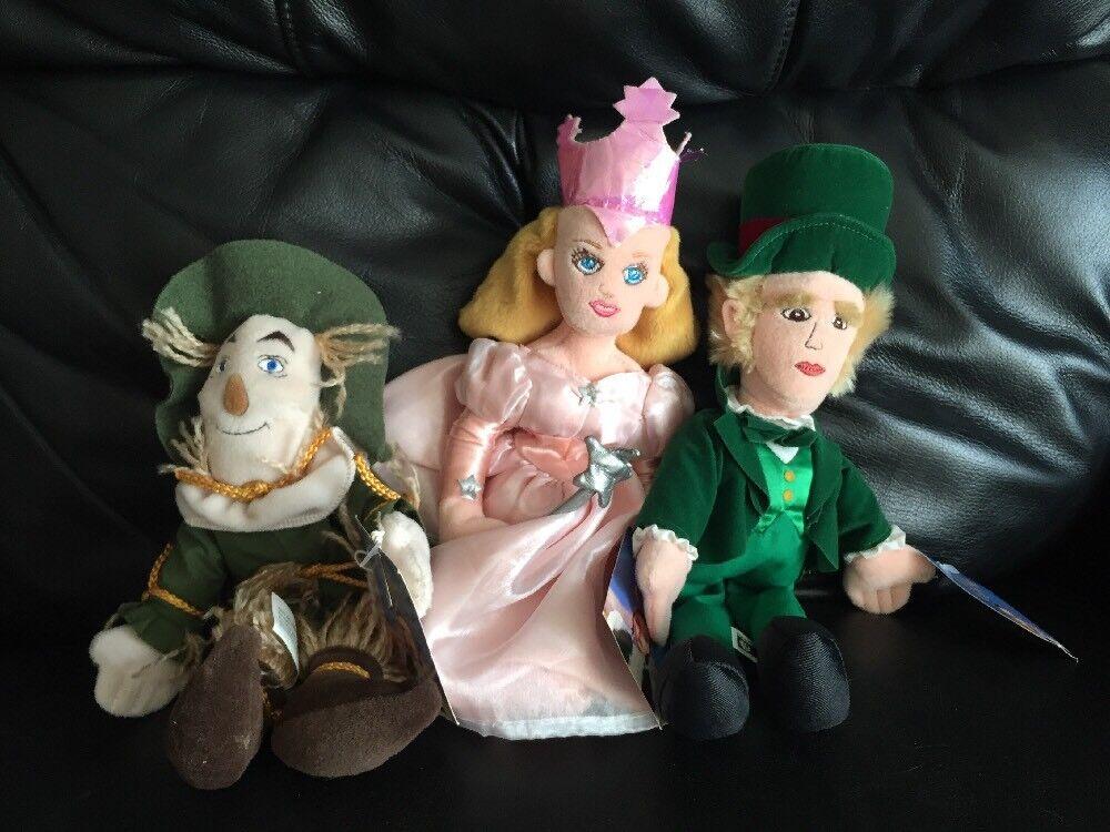 "Vintage ""The Wizard Of Of Of Oz  Plush Lot Beanbag NWT Scarecrow Oz Princess 13981f"