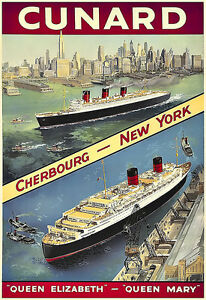 Art-Ad-Cunard-Cherbourg-New-York-Cruise-Ship-Travel-Deco-Poster-Print