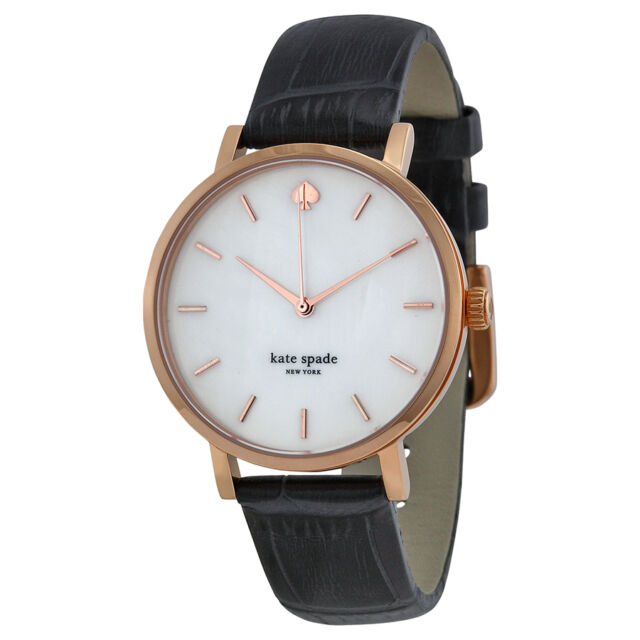 Kate Spade Metro Mother of Pearl Dial Dark Grey Leather Ladies Watch 1YRU0310