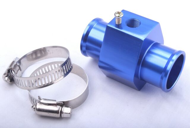 Alloy T Piece Temp Adapter Water Coolant Sensor Blue Temperature Hose Gauge