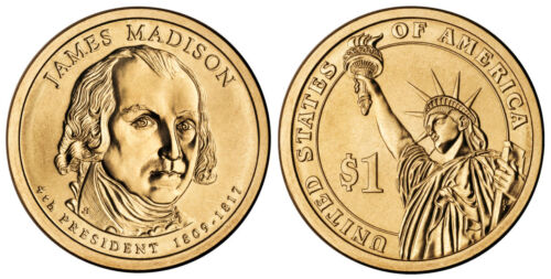 Mint Money Coins 2007 D James Madison Presidential One Dollar Coin From U.S