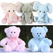 "11"" Mini Plush Super Soft Teddy Bear Elephant Cuddly Toy Baby Gift with Ribbon"