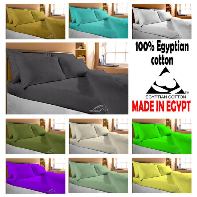 100% Egyptian Cotton Flat Sheets Bedding 200 TC Single Double King & Super King