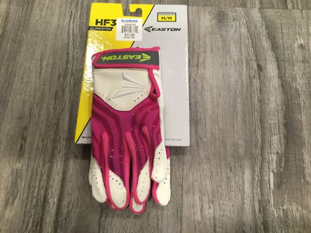 White//Pink M Easton HF3 Hyperskin Fastpitch Youth Batting Gloves