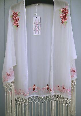 Chiffon Kimono Top Cover Up Shawl White Tassel Fringe Boho Wedding Evening 2016