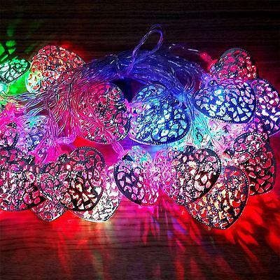 20 Led A Batteria Argento Cuore Fairy Stringa Luci Decorazione Festa Matrimonio-mostra Il Titolo Originale