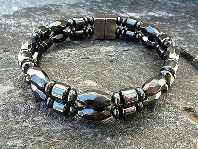 HEALTH 100/% Magnetic Hematite Bracelet Anklet Powerful 2 Row Super Strong HEALTH