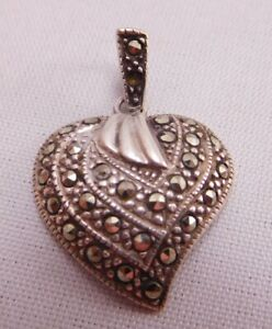 Designer Sterling Silver chain Marcasite Heart Pendant Earrings and Necklace Set 925 NC
