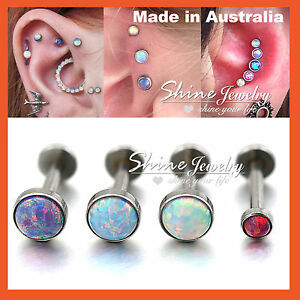 Details About Opal Stud Thread Ring Bar Labret Lip Ear Earrings Nose Helix Tragus Piercing 1pc
