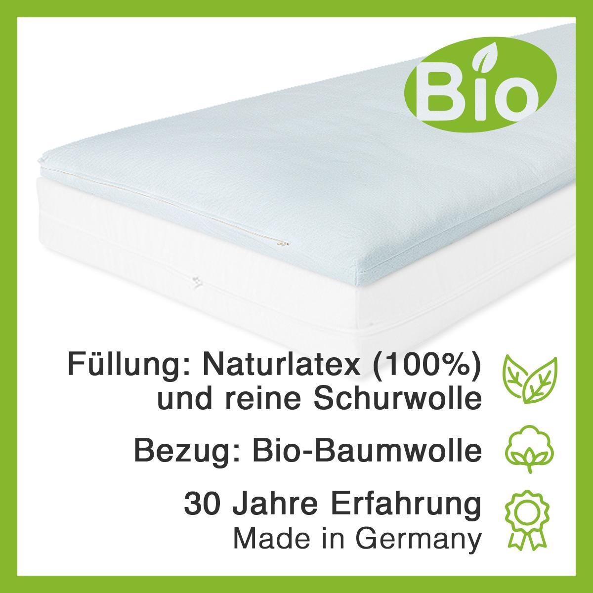 Matratzenauflage, Topper aus 100% Naturlatex, Bezug aus Bio-Baumwolle (GOTS)