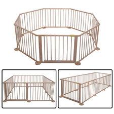 Baby Playpen 8 Panel Foldable Wooden Frame Kids Play Center Yard Indoor&Outdoor