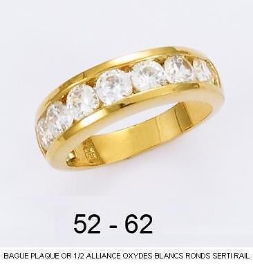 Dolly-Bijoux Alliance T60 Rail 6mm Diamant Cz Rond 4mm Plaqué Or 18K 5 Microns