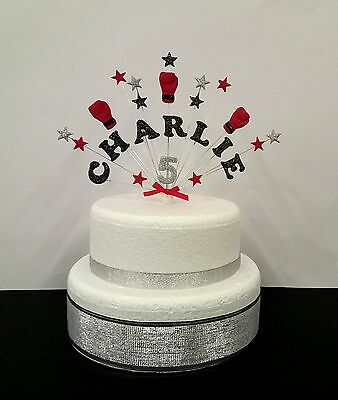 Excellent Boxing Personalised Name Age Birthday Celebration Cake Topper Funny Birthday Cards Online Hendilapandamsfinfo
