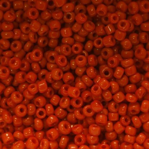 Perles de Rocaille 4mm rouge vermillon opaque x 20g