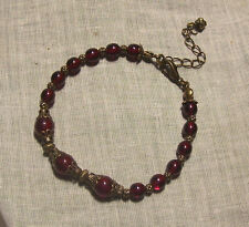 BRONZE FILIGREE GARNET RED GLASS STRAND BRACELET EDWARDIAN VICTORIAN GOTHIC