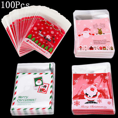 100x Self Adhesive Merry Christmas Cookie Candy Package Cellophane Gift Bags DO