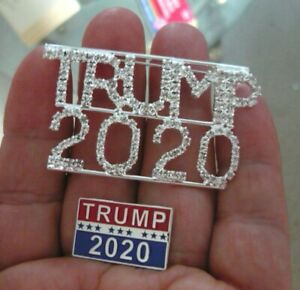 2-Great-Trump-2020-Pins-Rhinestone-Trump-2020-amp-Metal-Raised-Letter-Trump-2020